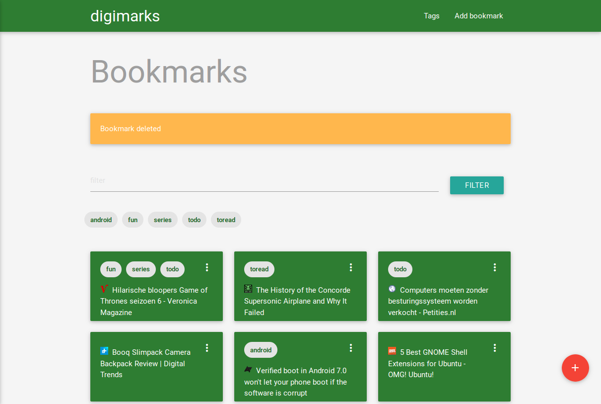 Bookmarks overview page