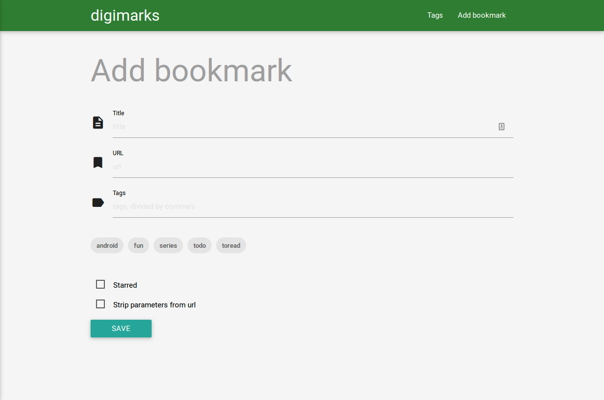 Add bookmarks page